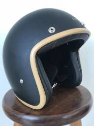 Kit Capacete Lucca Customs Old School Matt Black Caramel