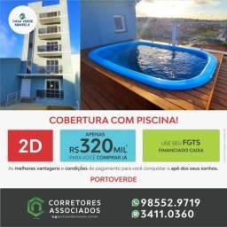 COBERTURA COM PISCINA E CHURRASQUEIRA - 02 DORMITÓRIOS COM SUÍTE - ACABAMENTO EM GRANITO -