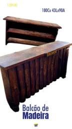Balcão rustico de madeira de lei
