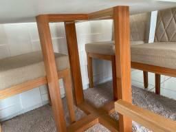 Mesa 100% madeira com tampo de vidro 4 cadeiras