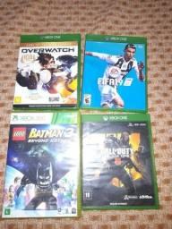 jogos de Xbox one: Black ops 4,Fifa 19 e overwatch  Xbox 360: lego Batman 3