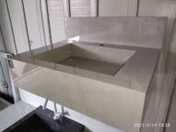 Pia para banheiro esculpida em porcelanato