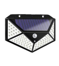 Luminária Solar 100 Leds Com Sensor Presença Sem Fio à Prova D' Água Chuva Externa 3 Modos