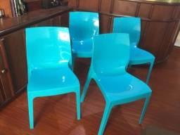 4 Cadeiras Tramontina Alice Summa em Polipropileno Brilhoso Azul (92037/070)