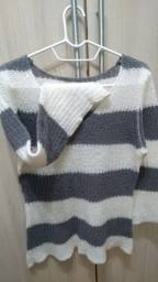 Blusa em lã,branca com listras cinza!!