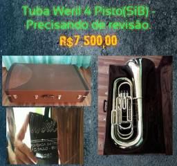 Tuba Weril 4 Pisto (Si bemol)