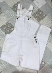 Jardineira jeans branca