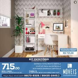 Modelos preços a partir de R$ 384,00 Kit escritório (mesa+estantes+prateleira) 100% MDF