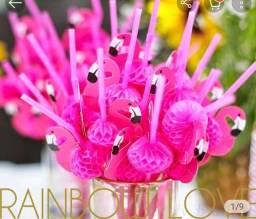 10 canudos flamingos para sua festa