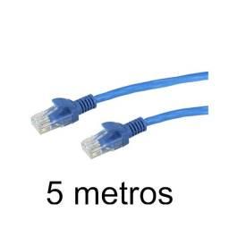 Cabo De Rede Rj45 Montado 5 Metros Ethernet Cat5e Lan Azul