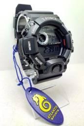 Relógio masculino atalants t force 5517 preto com branco.