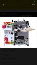 Máquina serigráfica SEMINOVA de estampar brindes cilíndricos com kit para produtos planos.