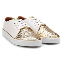 Tênis Feminino Vizzano Branco Ouro Glitter Dourado