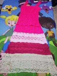 Vestido linho colorido midi