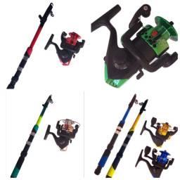 Kit vara pesca completo molinete linha
