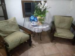 Conjunto de sofá 3 e 2 lugares imbuia