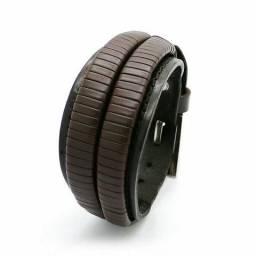 Bracelete Masculino Largo em Couro!