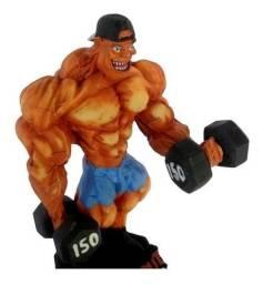 Boneco Halteres Musculação Rosca Alternada Academia