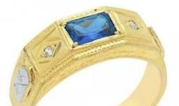 Anel formatura administração Ouro 18k Pedra natural diamante e ouro branco