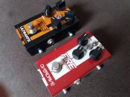 2 Pedais de guitarra Fire Overdrive e Distortion