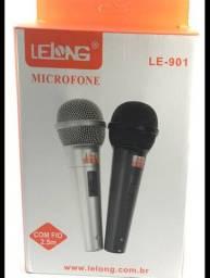 Microfone com fio kit com 2 com um enorme cabo de 3,5 metros