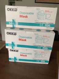 Máscara de Proteção facial tripla camada - Cx 50 peças