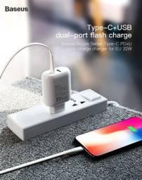Kit Carregador Turbo Duplo Usb + Tipo C Baseus p iPhone / Ipad e MacBook