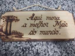 Placa decorativa em madeira - Mãe