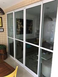 Título do anúncio: Porta De Alumínio Branco com Vidro e Trilhos Completa!!!