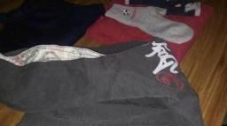 Calça de lã, 2 moletons, 2 camisetas manga longa e 2 meias novas meninos