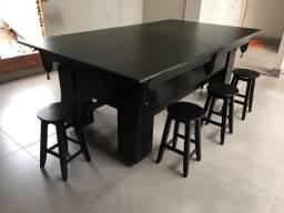 Mesa de Sinuca e Jantar com Banquetas 2,20 x 1,20 Preta Tx