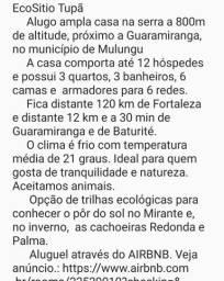 Alugo casa por temporada próximo a Guaramiranga (85) 9 9204.5343