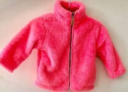 Casaco Carter?s pink de plushie com zíper