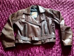 Jaqueta de couro feminina marrom