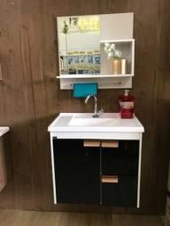 Gabinete para banheiro toalheiro alumínio espelho e pia 59 cm