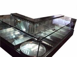 Estufa para salgados vidro reto