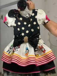 Vestido festa infantil luxo - Tema Turma do Mickey