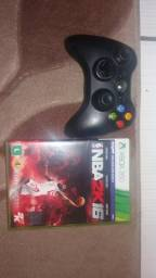 Controle xbox360 e jogo NBA