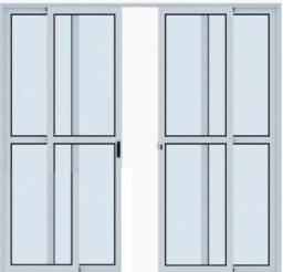 Porta balcão 4 folhas 2,10x2,00 - Alumínio branco