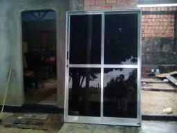 Porta de vidro de alumínio