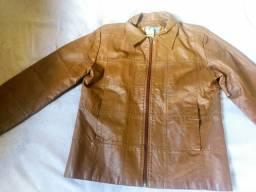 Jaqueta de Couro Legítimo tamanho M feminino
