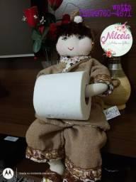 Boneca de pano para banheiro porta papel higiênico