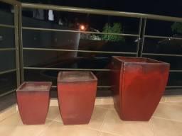 Conjunto 03 vasos vietnamitas em cerâmica.