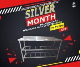 Mesas 100%inox de qualidade aproveita mês prata na aser inox