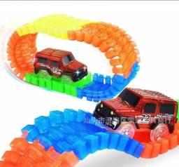 Pista Infantil Track Car Com Carrinho Luz Nas Rodas E Pista 55 Peças - Loja Natan Abreu