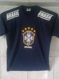 Camiseta CBF Seleção Brasileira de Futebol Brasil Tamanho M Amarela ou Azul Escuro