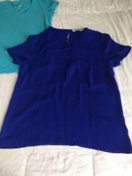 Blusinha Azul Caneta e Florida da Luigi Bertolli !!! R$ 20 Cada!!!