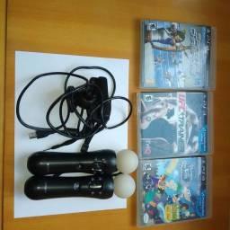 lote move Playstation 3 controles camera 3 jogos