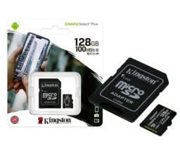 Cartão Memória MicroSD 128GB Kingston Até 100MB/s Casse10 Canvas Select Plus