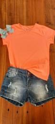 Camiseta e short Jeans para meninas Tamanho 12